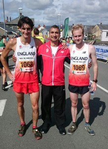 Nadeem Shaikh with Andrew Greenleaf and Andy Nixon of Team England